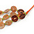 Long Multistrand Orange/ Brown Shell Necklace with Orange Cotton Cords - 84cm L - view 7