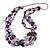 Long Multistrand Purple Shell Necklace with Lavender Cotton Cords - 86cm L