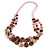 Long Multistrand Pink/ Brown  Shell Necklace with Light Pink Cotton Cords - 70cm L