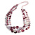 Long Multistrand Pink Shell Necklace with Light Pink Cotton Cords - 86cm L