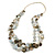 Long Multistrand Grey/ Beige Shell Necklace with Cream Cotton Cords - 86cm L