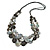 Long Multistrand Black/ Grey Shell Necklace with Black Cotton Cords - 76cm L