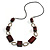 Long Mahogany Brown Square Wood Bead with Bronze Link Black Faux Leather Cord Necklace - 88 - view 3