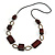 Long Mahogany Brown Square Wood Bead with Bronze Link Black Faux Leather Cord Necklace - 88