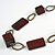 Long Mahogany Brown Square Wood Bead with Bronze Link Black Faux Leather Cord Necklace - 88 - view 4