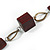 Long Mahogany Brown Square Wood Bead with Bronze Link Black Faux Leather Cord Necklace - 88 - view 5