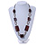 Long Mahogany Brown Square Wood Bead with Bronze Link Black Faux Leather Cord Necklace - 88 - view 2