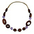 Brown Wood, Lavender Ceramic Bead with Olive Cotton Cords Necklace - 70cm L - view 3