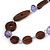 Brown Wood, Lavender Ceramic Bead with Olive Cotton Cords Necklace - 70cm L - view 4