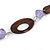 Brown Wood, Lavender Ceramic Bead with Olive Cotton Cords Necklace - 70cm L - view 5