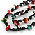 Long Chunky 2 Strand Multicoloured Wood Bead Black Cord Necklace - 86cm L - view 3