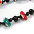 Long Chunky 2 Strand Multicoloured Wood Bead Black Cord Necklace - 86cm L - view 4
