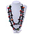 Long Chunky 2 Strand Multicoloured Wood Bead Black Cord Necklace - 86cm L - view 2