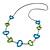 Green/ Blue Bone Bead Black Cord Necklace - 90cm L