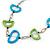 Green/ Blue Bone Bead Black Cord Necklace - 90cm L - view 3