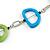 Green/ Blue Bone Bead Black Cord Necklace - 90cm L - view 4