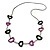 Black/ Purple Oval Bone Bead with Silver Tone Link Black Faux Leather Cord Necklace - 90cm L