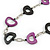 Black/ Purple Oval Bone Bead with Silver Tone Link Black Faux Leather Cord Necklace - 90cm L - view 3