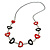 Red/ Black Oval Bone Bead with Silver Tone Link Black Faux Leather Cord Necklace - 90cm L