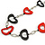 Red/ Black Oval Bone Bead with Silver Tone Link Black Faux Leather Cord Necklace - 90cm L - view 3