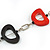 Red/ Black Oval Bone Bead with Silver Tone Link Black Faux Leather Cord Necklace - 90cm L - view 4