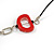 Red/ Black Oval Bone Bead with Silver Tone Link Black Faux Leather Cord Necklace - 90cm L - view 5