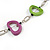 Light Green/ Purple Oval Bone Bead with Silver Tone Link Black Faux Leather Cord Necklace - 90cm L - view 3