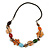Multicoloured Shell, Ceramic Bead Brown Faux Leather Cord Necklace (Orange, Brown, Blue, Green) - 66cm L