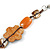 Multicoloured Shell, Ceramic Bead Brown Faux Leather Cord Necklace (Orange, Brown, Blue, Green) - 66cm L - view 3