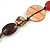 Multicoloured Shell, Ceramic Bead Brown Faux Leather Cord Necklace (Orange, Brown, Blue, Green) - 66cm L - view 4
