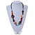 Multicoloured Shell, Ceramic Bead Brown Faux Leather Cord Necklace (Orange, Brown, Blue, Green) - 66cm L - view 2