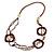 Long Multi-strand Brown/ Cream Ceramic Bead, Acrylic Ring Necklace - 90cm L - view 3