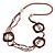 Long Multi-strand Brown/ Cream Ceramic Bead, Acrylic Ring Necklace - 90cm L