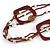 Long Multi-strand Brown/ Cream Ceramic Bead, Acrylic Ring Necklace - 90cm L - view 4
