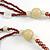 Long Multi-strand Brown/ Cream Ceramic Bead, Acrylic Ring Necklace - 90cm L - view 6