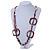 Long Multi-strand Brown/ Cream Ceramic Bead, Acrylic Ring Necklace - 90cm L - view 2