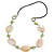 Natural Oval Shell and Green Ceramic Bead Faux Leather Cord Necklace - 70cm L