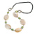 Natural Oval Shell and Green Ceramic Bead Faux Leather Cord Necklace - 70cm L - view 3