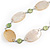 Natural Oval Shell and Green Ceramic Bead Faux Leather Cord Necklace - 70cm L - view 4