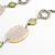 Natural Oval Shell and Green Ceramic Bead Faux Leather Cord Necklace - 70cm L - view 5
