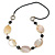 Natural Oval Shell and Black Ceramic Bead Faux Leather Cord Necklace - 70cm L