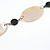 Natural Oval Shell and Black Ceramic Bead Faux Leather Cord Necklace - 70cm L - view 5