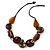 Statement Cluster Ceramic, Wood Bead and Silver Tone Ring Necklace with Black Cotton Cord (Brown, Black) - 56cm L