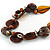 Statement Cluster Ceramic, Wood Bead and Silver Tone Ring Necklace with Black Cotton Cord (Brown, Black) - 56cm L - view 5