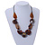 Statement Cluster Ceramic, Wood Bead and Silver Tone Ring Necklace with Black Cotton Cord (Brown, Black) - 56cm L - view 2