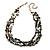 3 Strand Black Ceramic Bead, Dark Grey Sea Shell Nugget Orange Cord Necklace - 42cm L/ 8cm Ext