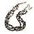 3 Strand Black Ceramic Bead, Dark Grey Sea Shell Nugget Orange Cord Necklace - 42cm L/ 8cm Ext - view 3