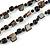 3 Strand Black Ceramic Bead, Dark Grey Sea Shell Nugget Orange Cord Necklace - 42cm L/ 8cm Ext - view 4