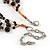 3 Strand Black Ceramic Bead, Dark Grey Sea Shell Nugget Orange Cord Necklace - 42cm L/ 8cm Ext - view 5