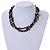 3 Strand Black Ceramic Bead, Dark Grey Sea Shell Nugget Orange Cord Necklace - 42cm L/ 8cm Ext - view 2